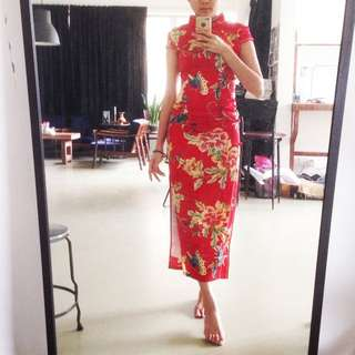 Red Flower Chinese Dress Cheongsam(reduce)