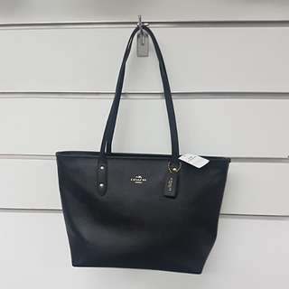 Coach Black Crossgrain Leather Tote Bag