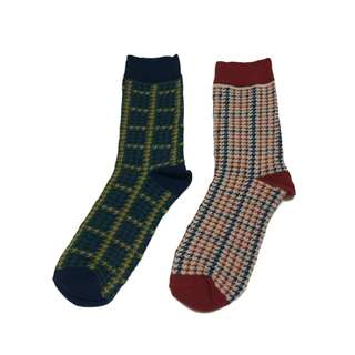 日系復古森林文藝中性英倫風千鳥紋圖騰配色長襪子