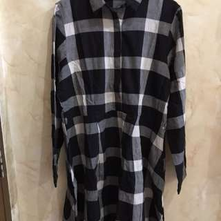Dress flannel kotak kotak