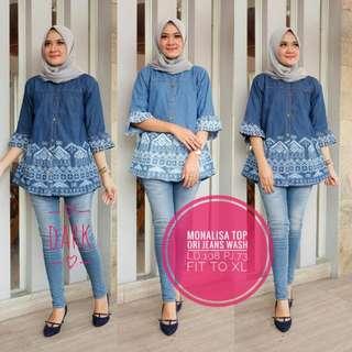 Baju wanita blouse tunik monalisa top jeans remaja muslim trendi lucu cantik