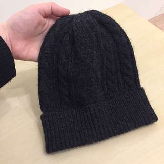 MUJI 無印良品 編織羊毛毛帽 深灰色
