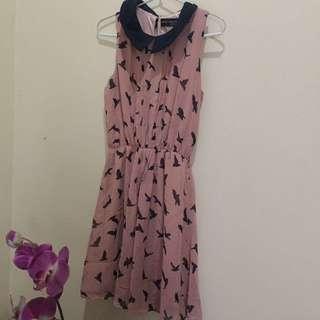 Top / dress collar pink bird