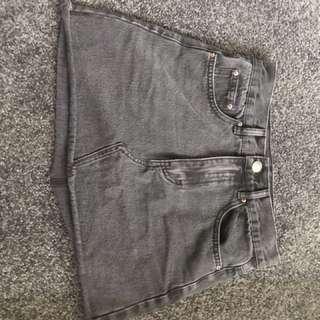 Glassons black denim skirt, size 8