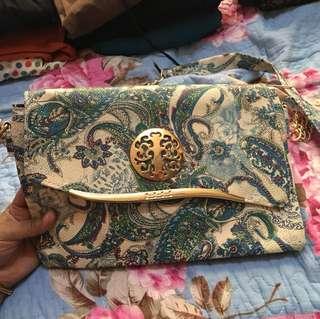 Blue batik handbag