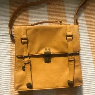 Elements Mustard Yellow Square Messenger Bag Satchel