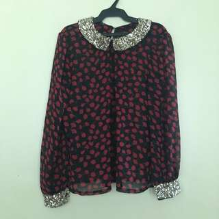 Red Floral Sequenced Long Sleeves