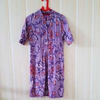 Batik dress purple LD 42cm.panjang 90cm. Merek Eprise size M