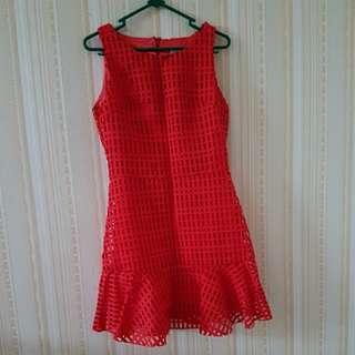Dress merah size M.LD 40cm..panjang 80cm