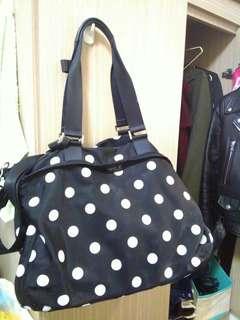 Agnes.b限量版poka dot黑白點點大容量尼龍旅行袋背包