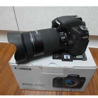 【出售】Canon 760D 數位單眼相機 盒裝完整 9.5成新 (快門數1千多而已)