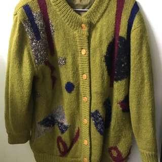 古著 厚毛衣復古黃色毛外套