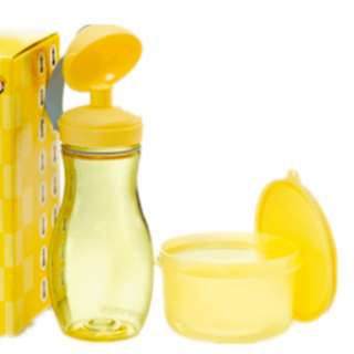 Tupperware limited yellow bottle & round container