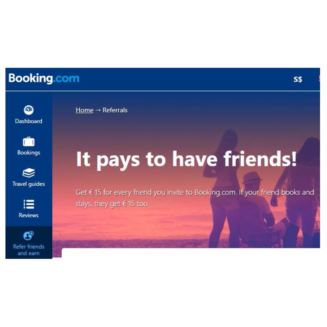 €15 off Booking com (Refer a friend promo), Entertainment