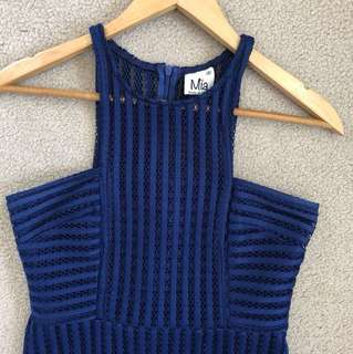 Electric Blue Crochet Style Dress - Size S
