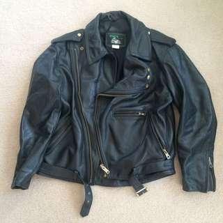 Genuine Leather Vintage Biker Jacket - Size XXL - XXXL
