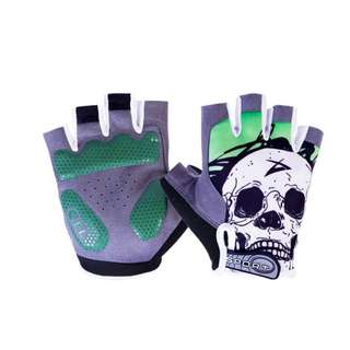 🆕! Skeleton ☠ Green Protective Half Finger Gloves For motorcycle /Escooter /Rollerblade /Cycling #OK