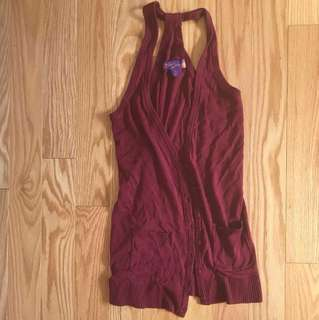 *SALE* Burgundy Sleeveless Cardigan