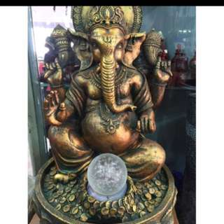 {FS138} 20 inches tall Lord Ganesha Elephant God Fortune Water Fountain