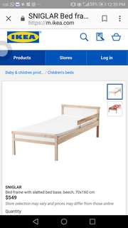 Ikea kids bed, gently used for 1 yr