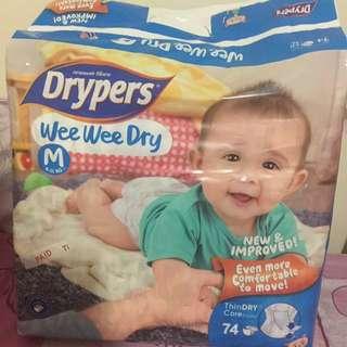 Drypers Wee Wee Dry m size 74pcs+free 38pcs