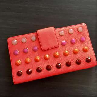 FOSSIL TRAVEL WALLET NEON CORAL