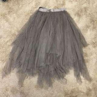 🚚 韓國 可可色不規則下擺多層次紗裙
