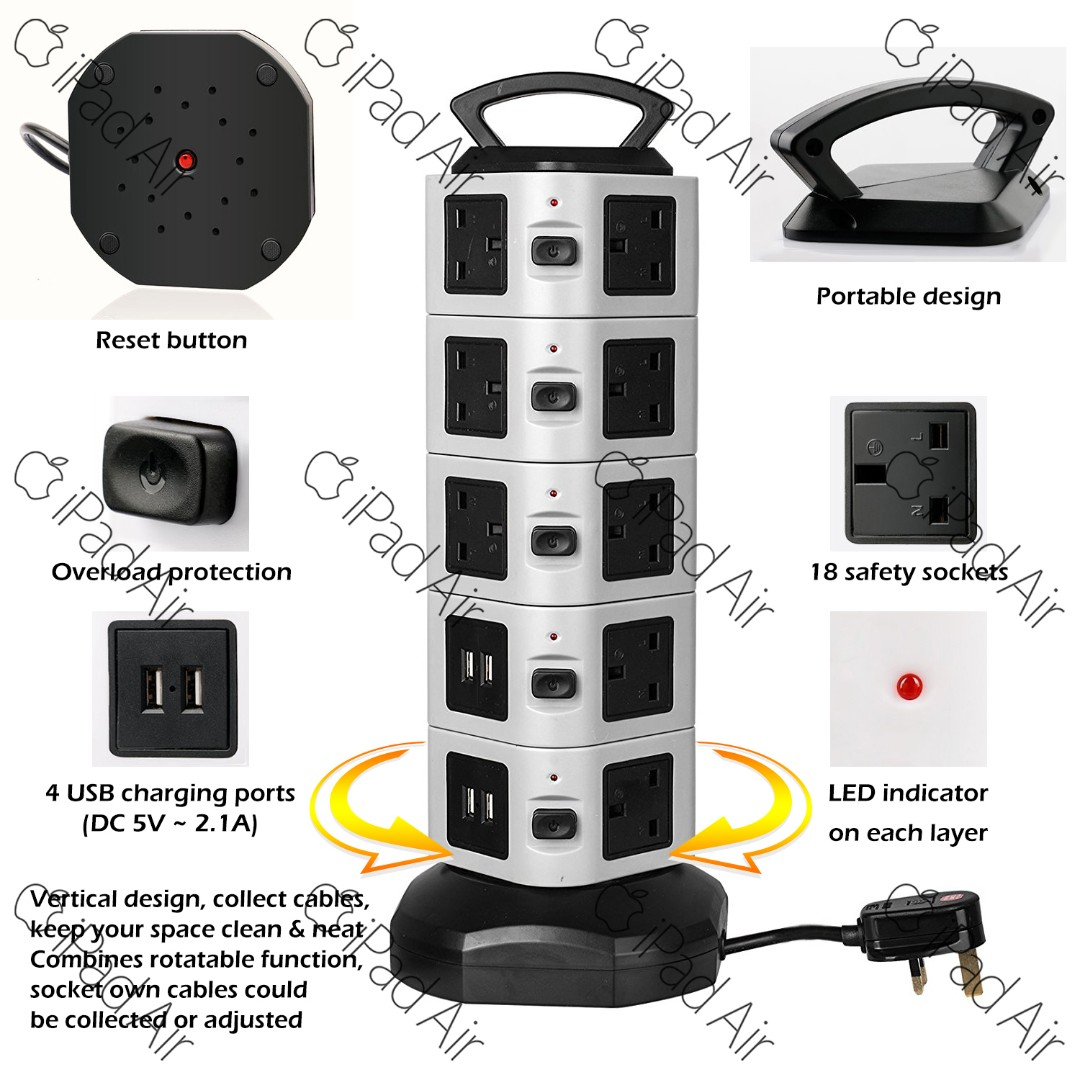 18 Way Outlet Extension Lead Surge Protector Tower Power