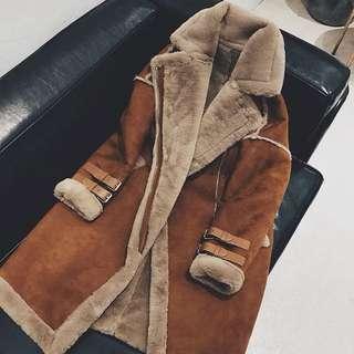 羊羔毛加絨中長款加厚麂皮絨棉衣外套