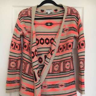 Rice Paper Beige & Bright pink Knit Cardigan