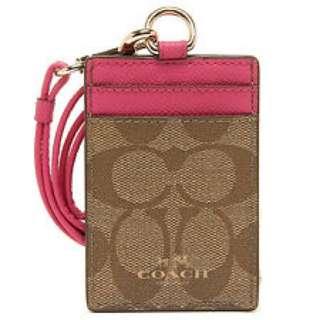 Coach ID case 粉紅色經典掛頸ID套