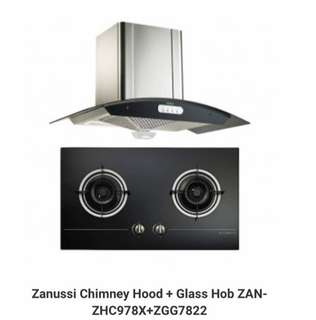zanussi stove and hood package