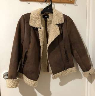 H&M fake fur lined and brown suede jacket