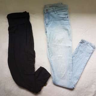 Genie pants and washed jeans