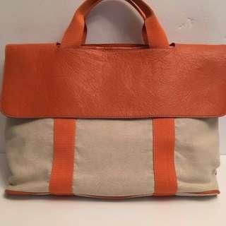 HERMES canvas beach tote bag