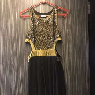 Gold sequin black maxi dress