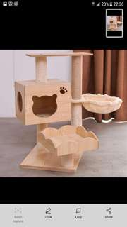 furniture wood CAT TREE WITH CAT SCRATCHER CLIMBING HOUSE FOR CATS PLYWOOD & SISAL ROPE with hammock bowl