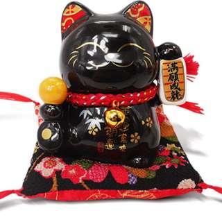 Oriental Fortune Cat (Black) - 金石工坊招财猫