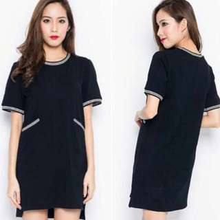 black jersey trimmed basic tee dress