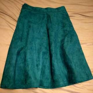 深綠色麂皮裙M