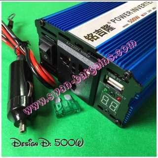 High Power Portable Car Bike Power Inverter DC To AC Transformer 12V DC To 220V AC Inverter W USB Port Output Advanced Model with Voltmeter Indicator