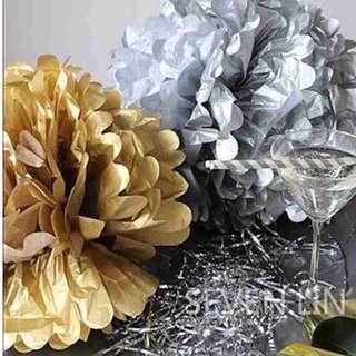 Silver Large 35cm Pom Pom (Party Backdrop/Deco)