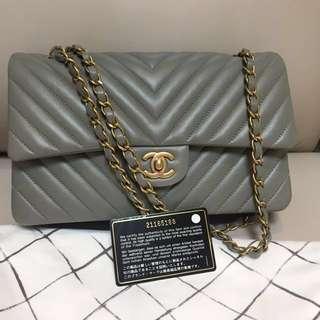Chanel 25cm 灰色小羊皮口蓋包