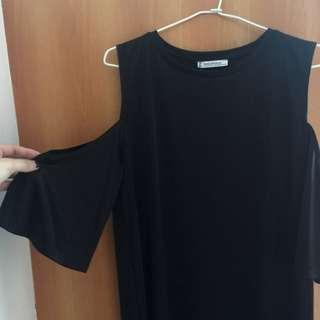 Zara 挖肩緞面黑洋裝