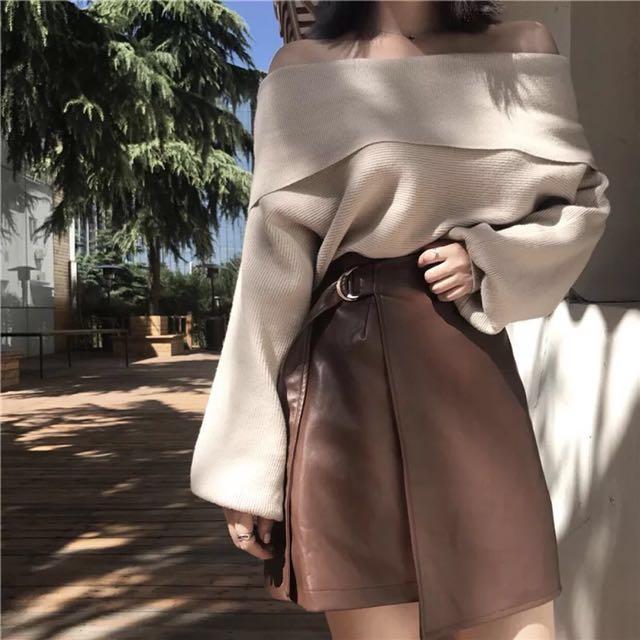 (預購)套裝韓版針織一字領皮裙顯瘦套裝