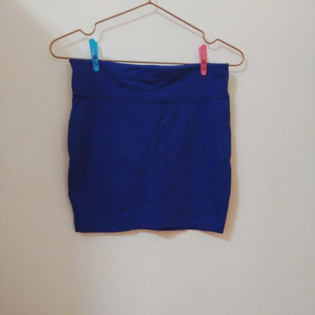 寶藍色棉質窄裙