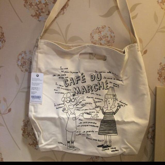 韓國米白塗鴉帆布袋