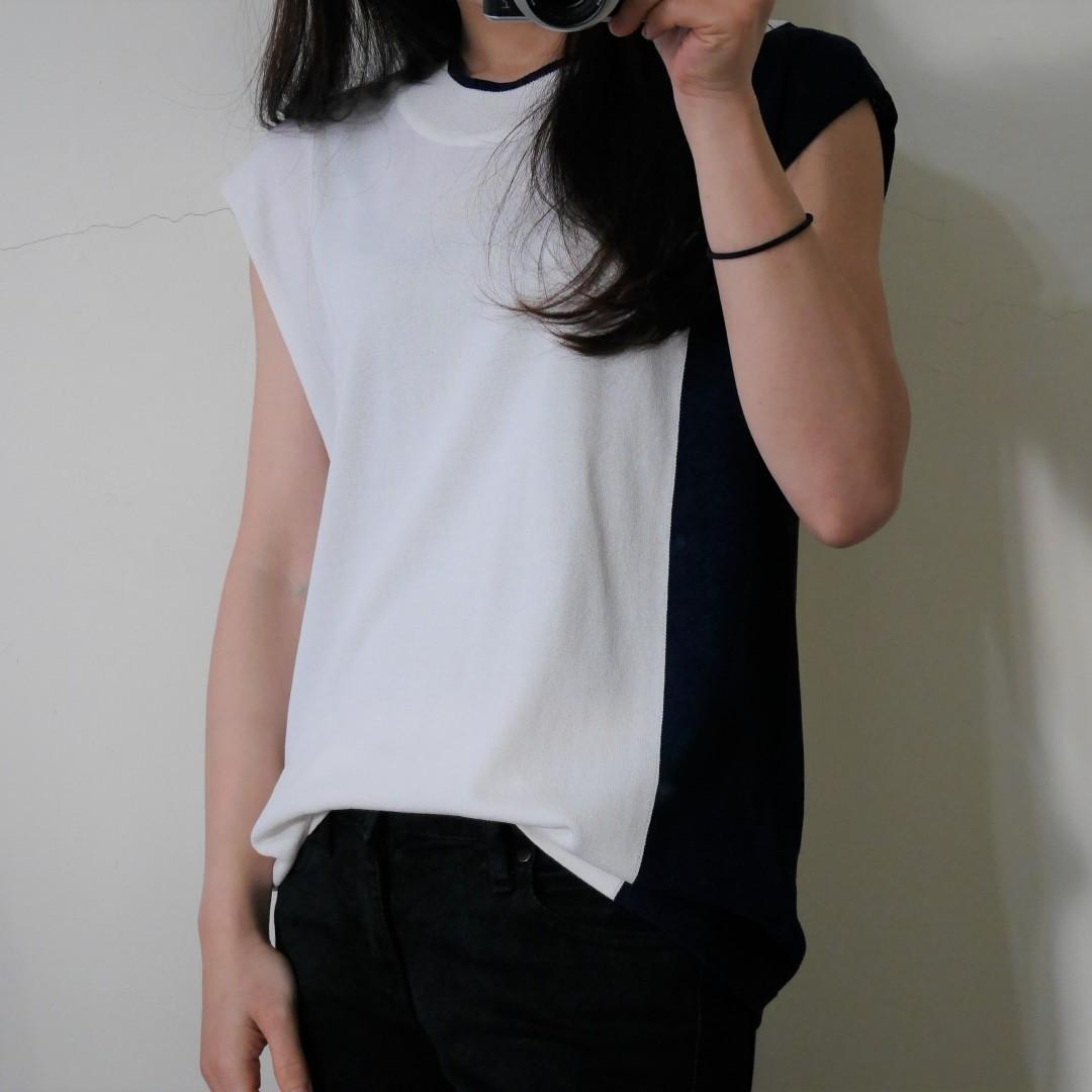 韓/側邊拚深藍色針織白短袖上衣