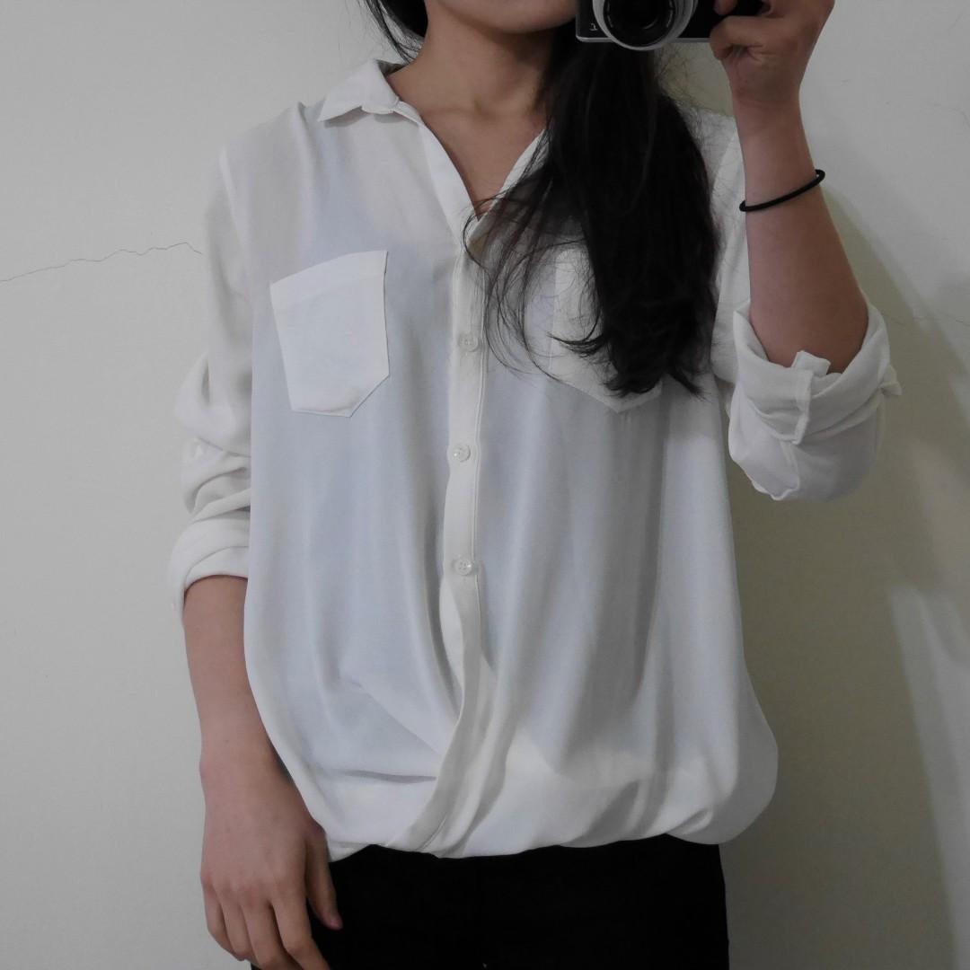 薄雪紡白襯衫式上衣