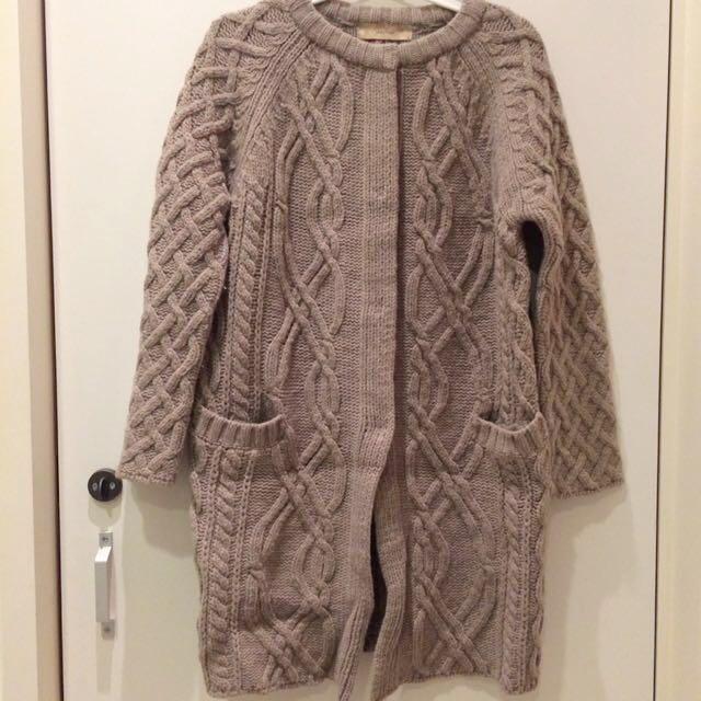 韓國製麻花羊毛大衣